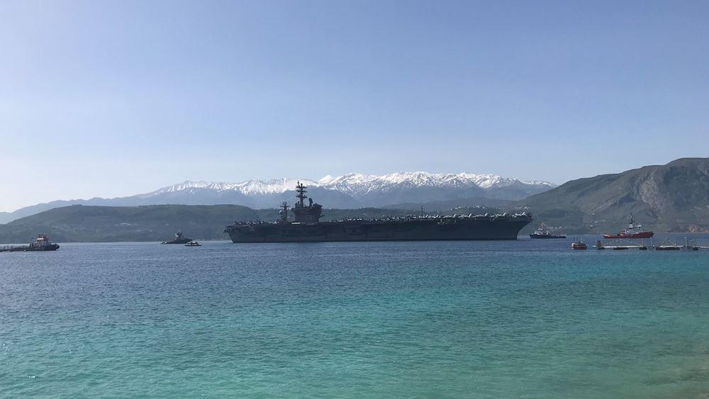 """Χανιά: Κατέπλευσε στη ναυτική βάση Μαραθίου το Αμερικανικό αεροπλανοφόρο """"Eisenhower"""""""