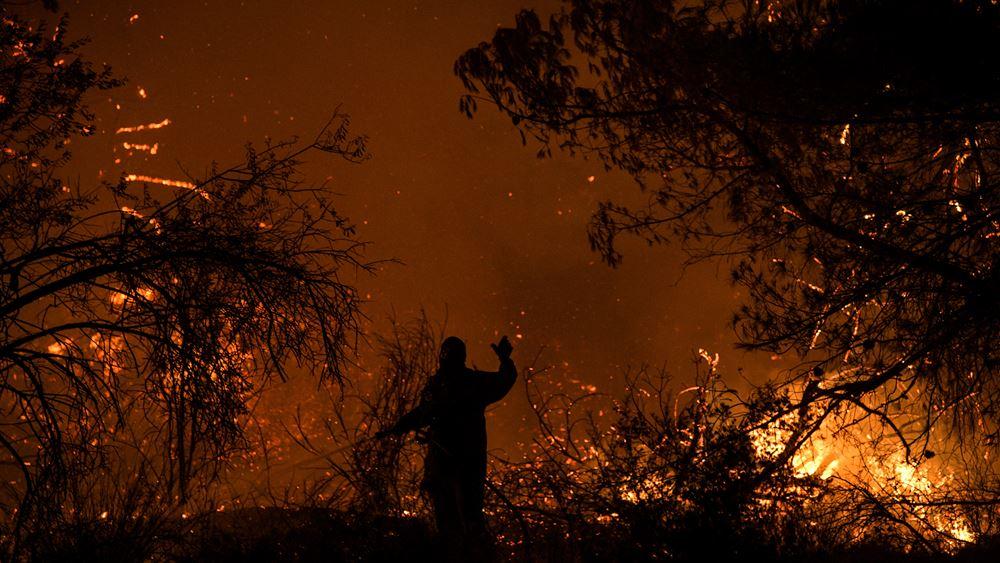 Μάχη των πυροσβεστών κόντρα στη φωτιά στα Πλατάνια