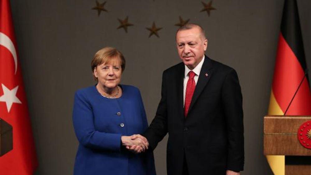 """Μέρκελ προς Ερντογάν: """"Μόνο στη βάση του Διεθνούς Δικαίου"""" μπορούν να επιλυθούν οι διαφορές στην αν. Μεσόγειο"""