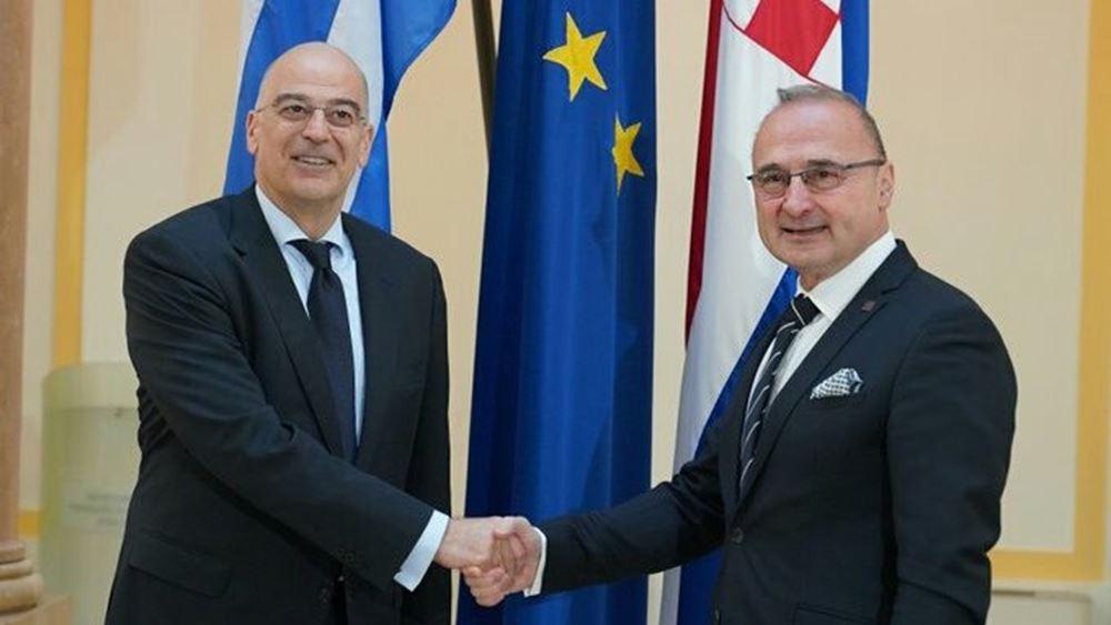Η ευρωπαϊκή προοπτική των Δυτικών Βαλκανίων στο επίκεντρο της επικοινωνία Δένδια με τον Κροάτη ομόλογό του