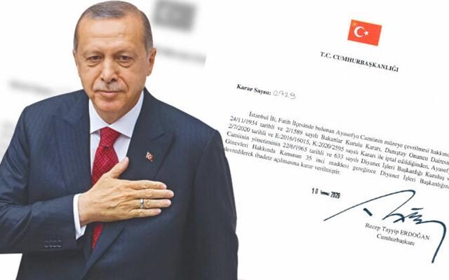 Τζαμί και επισήμως η Αγιά Σοφιά - Ο Ερντογάν υπέγραψε σχετικό προεδρικό διάταγμα