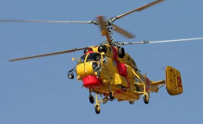 Ένα ελικόπτερο τύπου Kamov ενισχύει τις δυνάμεις δασοπυρόσβεσης της Αλεξανδρούπολης
