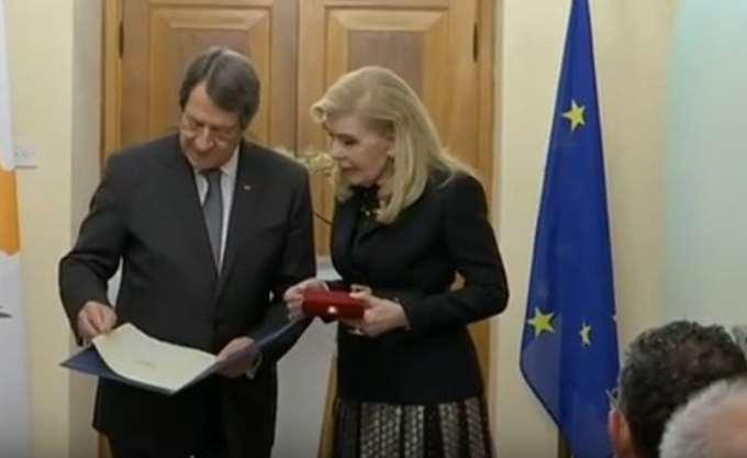 Ο πρόεδρος της Κύπρου Ν. Αναστασιάδης τίμησε την Μαριάννα Βαρδινογιάννη