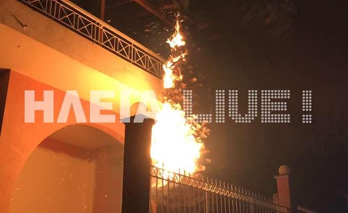 Σε τρία μέτωπα η φωτιά στην Φρίξα -Οι φλόγες έφτασαν στα σπίτια στη Σκιλλουντία